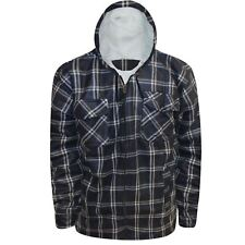New Mens Sherpa Fleece Lined Hooded Lumberjack Work Shirt Winter Padded Jacket