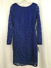 NWT Marina Women's Long-Sleeve Cobalt Blue Lace Sequin Dress Low Back size 6