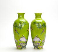 Pair of Chinese Enameled Seal Mark Flower Garden Green Ground Porcelain Vase