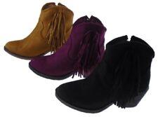 Ladies Cowboy Fringe Mid Heel Wine Camel Tan Ankle Boot Shoe Sizes UK 4 - 8.5