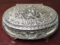 ANTIQUE Filigree Silverplate Repousse Lidded Footed Trinket Box Rose Cherub EXC