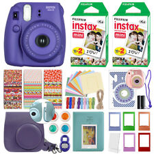 Fuji Instax Mini 8 Fujifilm Instant Film Camera Grape + 40 Film Deluxe Bundle