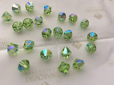 36 Swarovski #5301 8mm Crystal Peridot AB Faceted Bicone Beads