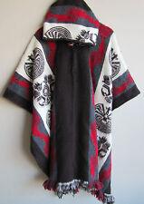 NEW!Llama Wool Man Cape Poncho red Hood Men Coat Jacket Mens Handmade in Ecuador