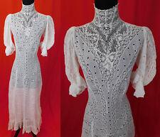 Victorian Eyelet Valenciennes Bobbin Lace White Cotton Batiste Lawn Dress Vtg