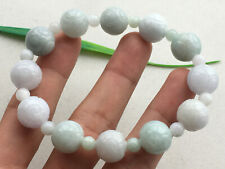 Certified Natural Light green  A Grade 13mm JADE Jadeite Carving Bracelet 2109