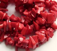 """Oxblood Red Bamboo Coral Medium Chip Beads - 17"""" str"""