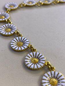 Beautiful Georg Jensen 925 Sterling Silver Enameled Daisy Necklace