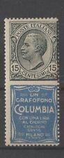 ITALIA REGNO 1924-1925 PUBBLICITARI Ct. 15 COLUMBIA SASSONE Nr. 2  MNH **