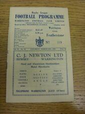 26/03/1960 liga de rugby programa: Warrington V Featherstone Rovers (plegado). Bo