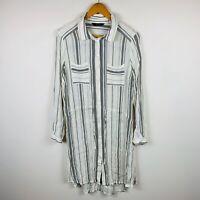 Decjuba Womens Dress Size 12 White Black Striped Shirt Dress Long Sleeve Button