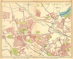 LONDON NW. Wembley Stadium Sudbury Willesden Kingsbury Neasden 1930 old map