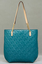 Nwt $268 Michael Kors Jet Set N/S Chain Tote Shoulder Bag Handbag Deep Sea Green