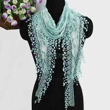Fashion Embroidery Circle With Tassel Comfy Cotton Gauze Shawl Triangle Scarf