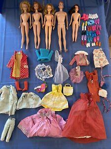 5 Vintage Barbie Dolls Midge Barbie Ken Francie w/ 41 Pieces Of Clothing/Shoes