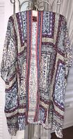 NEW Plus Size 1X 2X 3X Blue Pink Red White Floral Open Kimono Duster Topper