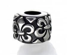 Fleur De Lis Charm Silver European Spacer Bead Steel Fits Charm Bracelets
