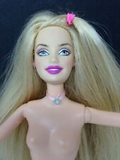 Barbie Nude Doll Long Blonde Hair - Top Pony Tail - Pink & Blue Ribbon Necklace!