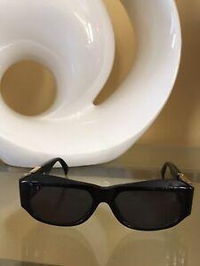 90s Vintage Gianni VERSACE Sunglasses MOD T75 COL.852 Black Gold Trim
