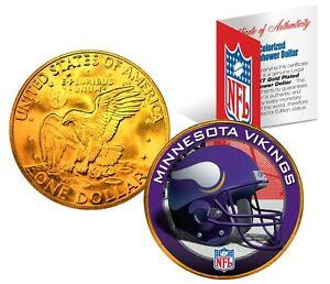 MINNESOTA VIKINGS NFL LICENSED 24K Gold Plated IKE Eisenhower Dollar U.S. Coin