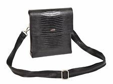 Mens Cross Body Messenger iPad Tablet Snake Print Leather Shoulder Bag Black