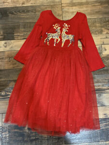 Justice Girls Red Sparkly Sequin Reindeer Holiday Christmas dress Vguc Size 12