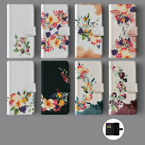 FLORAL FLOWERS SHABBY CHIC AUTUMN VIOLET LEATHER WALLET PHONE CASE FOR IPHONE