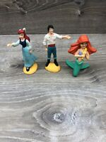 Vintage The Little Mermaid Lot Of 3 Figures  PVC Walt Disney Ariel And Eric