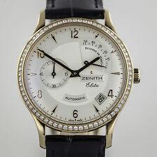 Zenith 18K Rose Gold,Elite Class Reserve de Marche, Mens, Diamonds, Leather Cro