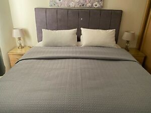Kirkton House, Grey Quilted Super King Bed Throw Bedspread Blanket
