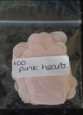100 Paper pink hearts. card making scrapbook craft embellishments table confetti