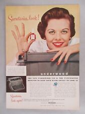 Underwood Typewriter PRINT AD - 1955 ~~ Underwood Red Nail Polish