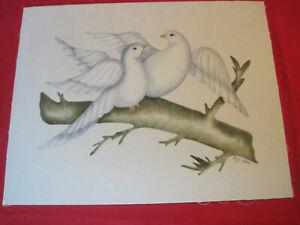 Folk Art Theorem painting of Dove birds, unframed mounted on cardboard