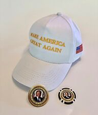 Trump Golf Cap..Make America Great Again..MAGA + Golf Ball Marker + Decal..White