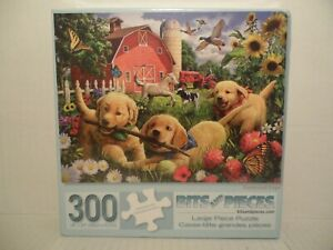 BITS AND PIECES 300 Large Piece Puzzle Farmyard Pups Brand New Sealed!