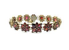 Antique Victorian-Bohemian Gilded Silver Garnet Stone Safety Chain Bracelet