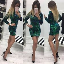 Sexy Women Party Evening Cocktail Sequins Bodycon Club Mini Pencli Dress M/L