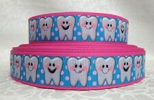 "Tooth Dentist  grosgrain 7/8"" ribbon 3 yds key chains hair bows  **CHELLE**"