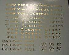 Standard Gauge LIONEL PASSENGER #332 RPO decal lettering set