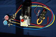 AC HVAC Tool Kit:Deep Vacuum Pump+Manifold Gauge Set R410a+Clamp ammeter Tester