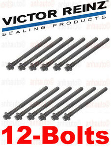 12-Head Bolts Victor Reinz Engine Cylinder Head Bolt Set Volvo