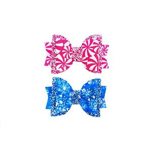 """Dog Hair Bows- 2.5"""" x 1.5"""" Christmas Holidays Peppermints Snowflakes Stacked Pet"""