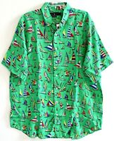 Polo Ralph Lauren Big Tall Mens 2XLT Green Linen S/S Button-Front Shirt NWT 2XLT