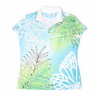Chico's Women's Blue Zenergy Floral 1/4 Zip Golf Polo Top - Size Medium