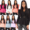 Ladies Double Ring Buckle Padded Puff Sleeve Wrapover Peplum CC Belted Party Top