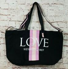 Victoria's Secret LOVE Black Pink Logo Stripe Large Weekender Tote Bag NEW