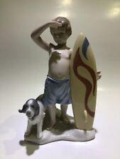 "Lladro Figurine ""Surf'S Up"" #8110 - Surfer w/ Board & Dog - J Santaeulalia -Mib"