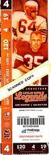 Cleveland Browns Full Souvenir Ticket Sept. 2013 Abe Gibron / Galen Fiss Design