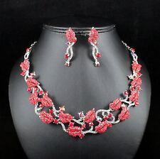 Kiss Lip Red Austrian Rhinestone Crystal Necklace Earrings Set Party Club N1000R
