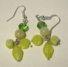 with green hued beads and stones Great Silver tone metal dangle earrings